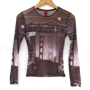 VTG Y2K Sheer Mesh Golden Gate Bridge Photo Top